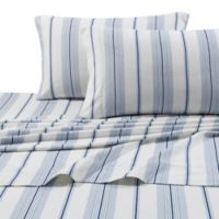 Stripe Print 200 GSM Deep-Pocket Full Flannel Sheet Set in Blue