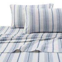 Stripe Print 200 GSM Deep-Pocket California King Flannel Sheet Set in Blue