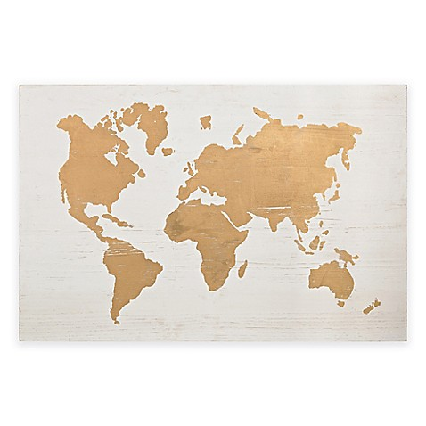 Sterling Industries Wood World Map Wall Art Bed Bath