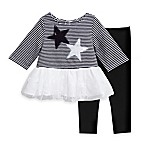 Marmellata Size 3M 2-Piece Stars and Sequins Tunic and Legging Set in Black/White