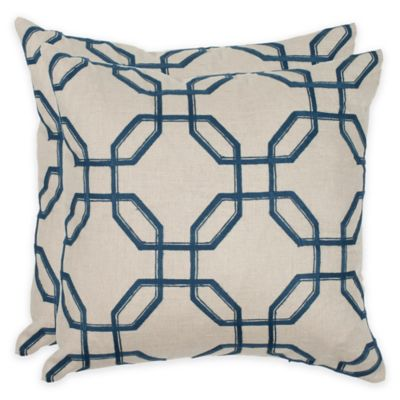 safavieh hayden 18inch square throw pillows in indigo set of 2