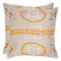 Safavieh Reese 22-Inch Throw Pillow in Orange (Set of 2)