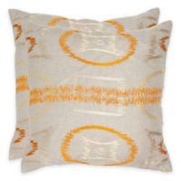 Safavieh Reese 22-Inch Throw Pillow in Orange (Set of 2)