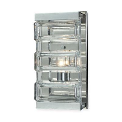 elk lighting corrugated glass 1 light vanity in polished chrome bed bath and beyond lighting