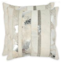 Safavieh Peyton 22-Inch Square Throw Pillows in Silver (Set of 2)