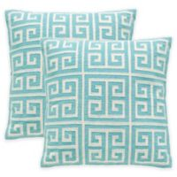 Safavieh Chy Square Throw Pillow in Aqua Blue (Set of 2)