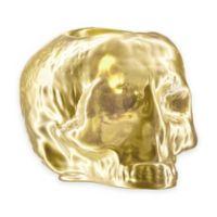 Kosta Boda Still Life Skull Votive Holder in Gold