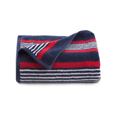 izod racer stripe bath towel in navy