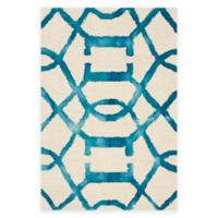Safavieh Dip Dye Entwine 2-Foot x 3-Foot Hand-Tufted Wool Area Rug in Ivory/Turquoise