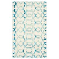 Safavieh Dip Dye Entwine 3-Foot x 5-Foot Hand-Tufted Wool Area Rug in Ivory/Turquoise