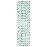 Safavieh Dip Dye Entwine 2-Foot 3-Inch x 12-Foot Hand-Tufted Wool Area Rug in Ivory/Turquoise