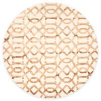 Safavieh Dip Dye Entwine 7-Foot Round Hand-Tufted Wool Area Rug in Ivory/Camel
