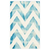 Safavieh Dip Dye Chevron 2-Foot x 3-Foot Hand-Tufted Wool Area Rug in Ivory/Turquoise
