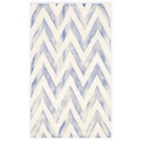Safavieh Dip Dye Chevron 3-Foot x 5-Foot Hand-Tufted Wool Area Rug in Ivory/Blue