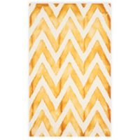 Safavieh Dip Dye Chevron 3-Foot x 5-Foot Hand-Tufted Wool Area Rug in Ivory/Gold