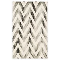 Safavieh Dip Dye Chevron 3-Foot x 5-Foot Hand-Tufted Wool Area Rug in Ivory/Charcoal
