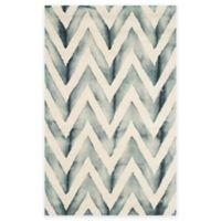 Safavieh Dip Dye Chevron 3-Foot x 5-Foot Hand-Tufted Wool Area Rug in Ivory/Grey
