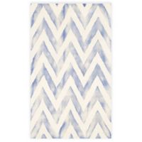 Safavieh Dip Dye Chevron 4-Foot x 6-Foot Hand-Tufted Wool Area Rug in Ivory/Blue