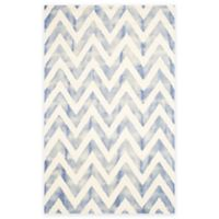 Safavieh Dip Dye Chevron 5-Foot x 8-Foot Hand-Tufted Wool Area Rug in Ivory/Blue