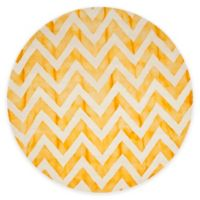 Safavieh Dip Dye Chevron 7-Foot Round Hand-Tufted Wool Area Rug in Ivory/Gold
