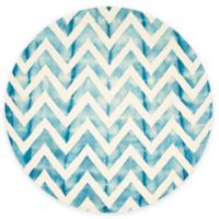 Safavieh Dip Dye Chevron 7-Foot Round Hand-Tufted Wool Area Rug in Ivory/Turquoise