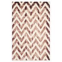 Safavieh Dip Dye Chevron 6-Foot x 9-Foot Hand-Tufted Wool Area Rug in Ivory/Maroon