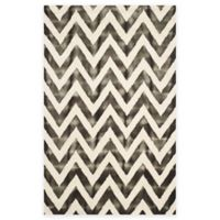 Safavieh Dip Dye Chevron 6-Foot x 9-Foot Hand-Tufted Wool Area Rug in Ivory/Charcoal
