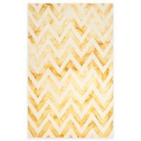 Safavieh Dip Dye Chevron 6-Foot x 9-Foot Hand-Tufted Wool Area Rug in Ivory/Gold