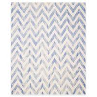 Safavieh Dip Dye Chevron 9-Foot x 12-Foot Hand-Tufted Wool Area Rug in Ivory/Blue