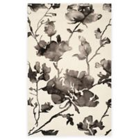 Safavieh Dip Dye Roses 4-Foot x 6-Foot Hand-Tufted Wool Area Rug in Ivory/Charcoal