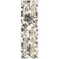 Safavieh Dip Dye Roses 2-Foot 3-Inch x 12-Foot Hand-Tufted Wool Area Rug in Ivory/Charcoal