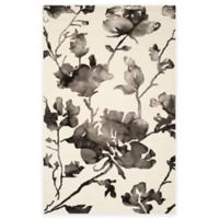 Safavieh Dip Dye Roses 5-Foot x 8-Foot Hand-Tufted Wool Area Rug in Ivory/Charcoal