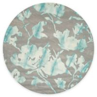Safavieh Dip Dye Roses 7-Foot Round Hand-Tufted Wool Area Rug in Grey/Turquoise