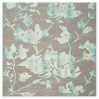 Safavieh Dip Dye Roses 7-Foot x 7-Foot Hand-Tufted Wool Area Rug in Grey/Turquoise