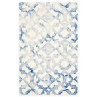 Safavieh Dip Dye Roses 5-Foot x 8-Foot Hand-Tufted Wool Area Rug in Ivory/Blue