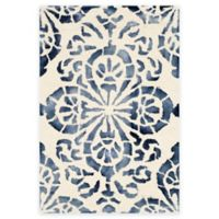 Safavieh Dip Dye Floral Medallion 3-Foot x 5-Foot Hand-Tufted Wool Area Rug in Ivory/Navy