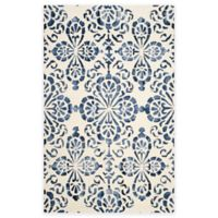 Safavieh Dip Dye Floral Medallion 4-Foot x 6-Foot Hand-Tufted Wool Area Rug in Ivory/Navy