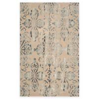 Safavieh Dip Dye Floral Medallion 7-Foot Round Hand-Tufted Wool Area Rug in Camel/Grey