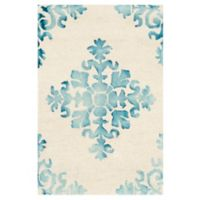 Safavieh Dip Dye New Damask 2-Foot x 3-Foot Hand-Tufted Wool Area Rug in Ivory/Light Blue