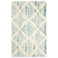 Safavieh Dip Dye New Damask 4-Foot x 6-Foot Hand-Tufted Wool Area Rug in Ivory/Light Blue
