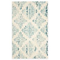 Safavieh Dip Dye New Damask 5-Foot x 8-Foot Hand-Tufted Wool Area Rug in Ivory/Light Blue