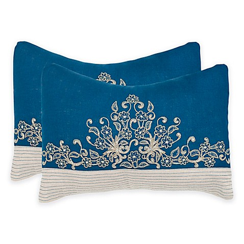 Royal Blue Outdoor Throw Pillows : Buy Safavieh Elena Square Throw Pillows in Royal Blue (Set of 2) from Bed Bath & Beyond