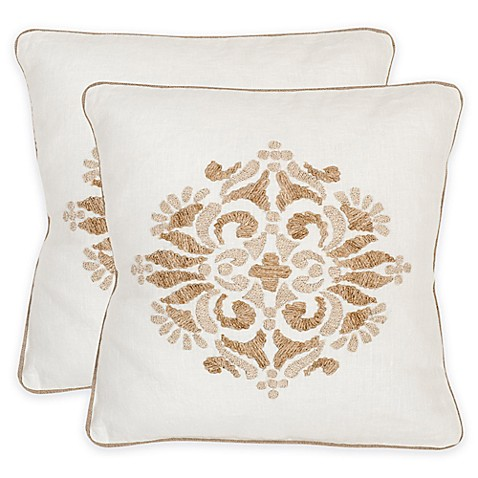 20 Inch Square Decorative Pillows : Safavieh Margherite 20-Inch Square Throw Pillows in Linen Cream (Set of 2) - Bed Bath & Beyond