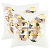 Safavieh Papillon Square Throw Pillows in Sorbet Shimmer (Set of 2)