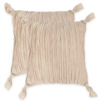 Safavieh Ruche Knots Square Throw Pillows in Taupe (Set of 2)