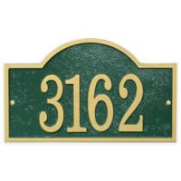 Whitehall Products Fast & Easy Arch House Numbers Plaque in Green/Gold