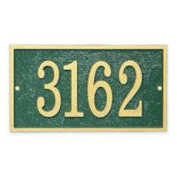 Whitehall Products Fast & Easy Rectangle House Numbers Plaque in Green/Gold