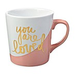 "Formations ""You Are Loved"" Color Dip Mug in Pink/White"