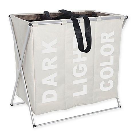 Buy wenko trio laundry bin in beige from bed bath beyond for Beige bathroom bin