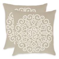 Safavieh Joanna 22-Inch x 22-Inch Throw Pillow in Beige (Set of 2)